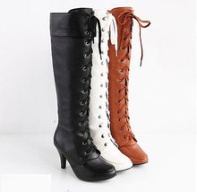 Big size arrived ,Free shipping fashion ladies lace-up leather motorcycle boots knee boots(China (Mainland))