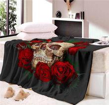 Сон одеяло супер мягкий уютный бархатный плюшевый плед Цветочный Череп Современная линия искусство одеяло на искусственном меху для диван...(China)