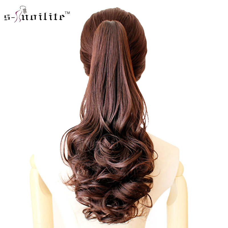 SNOILITE Synthetic Women Claw on Ponytail Clip in Pony Tail Hair Extensions Curly Style Hairpiece Black Brown Blonde Red(China (Mainland))