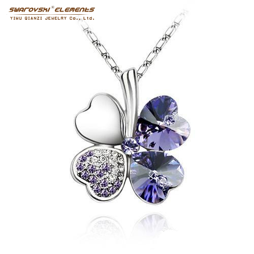2015 New Arrival Gift Four Leaf Clover Pendant Necklace Platinum Plating Jewelry Made With Crystals from Swarovski Elements(China (Mainland))