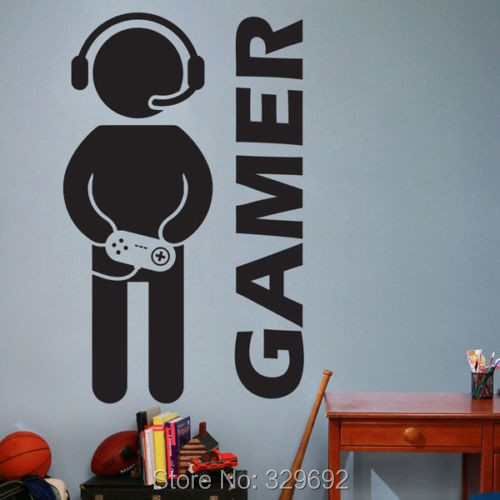 free shipping Video Game Gaming Gamer Joystick Wall Decal Art Home Decor Wall Sticker VInyl Decoration Wall Mural Paper tx-179(China (Mainland))