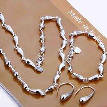 925 стерлингового серебра ювелирные изделия извилистые вод-падения серебра ожерелье крюк серьги браслет S188(China (Mainland))