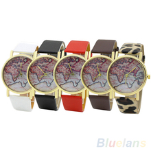 Men ' s mujeres de mapa del mundo Faux la correa de cuero ocasional del análogo de cuarzo reloj de pulsera 28BI