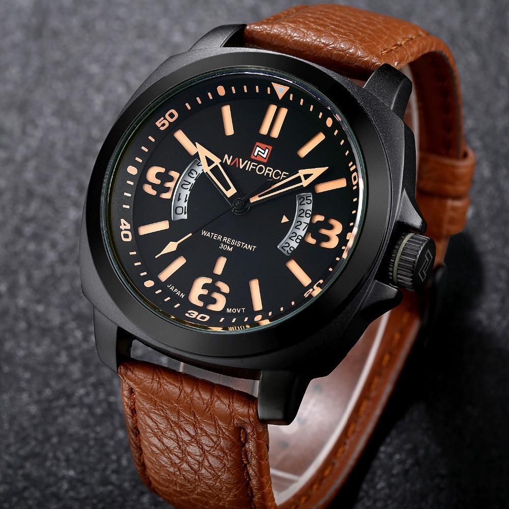 TOP Luxury Brand Naviforce Sports Watches Men Leather Analog Date Quartz Clock Man Army Military Wrist Watch Relogio Masculino<br><br>Aliexpress