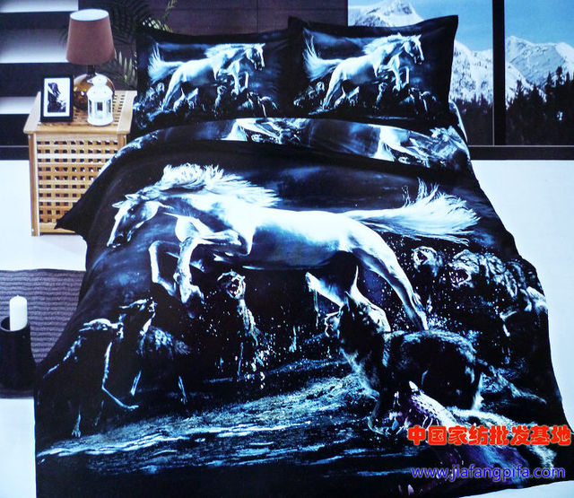 acheter 3d bleu cheval loup literie douillette queen housse de couette lit. Black Bedroom Furniture Sets. Home Design Ideas
