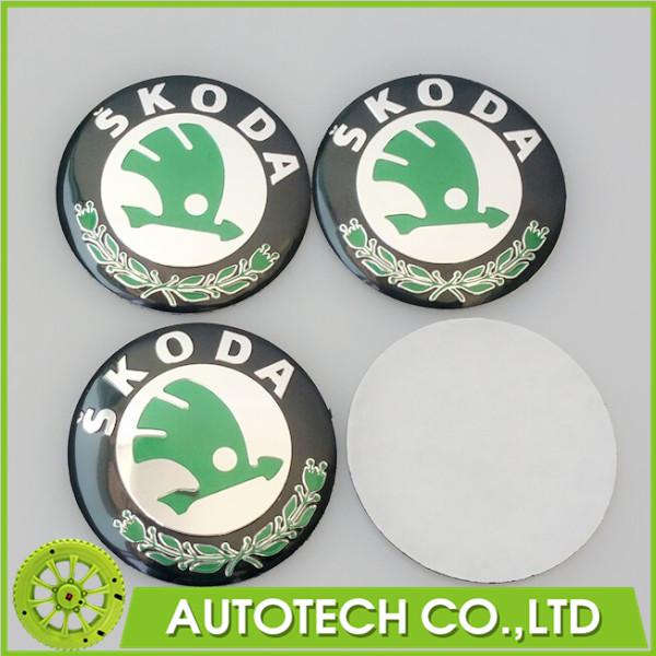 Car Styling 20Pcs/lot Aluminium Wheel Center Hub Caps Emblem 3D 56mm Car Sticker for SKODA Octavia Fabia Superb Rapid Yeti(China (Mainland))
