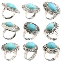Vintage Retro Style Oval Jasper Jewelry Antique Silver Ring for 10 Style