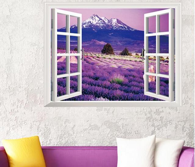 Стикер стены бесплатная доставка 3d лаванда пейзаж окно гостиной спальня домашнего декора