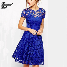 Summer Style Lace Blue Sweet Cocktail Women Dresses Mini Vestidos 2016 Femininos Ropa Mujer Vintage Cheap Clothes China OM010