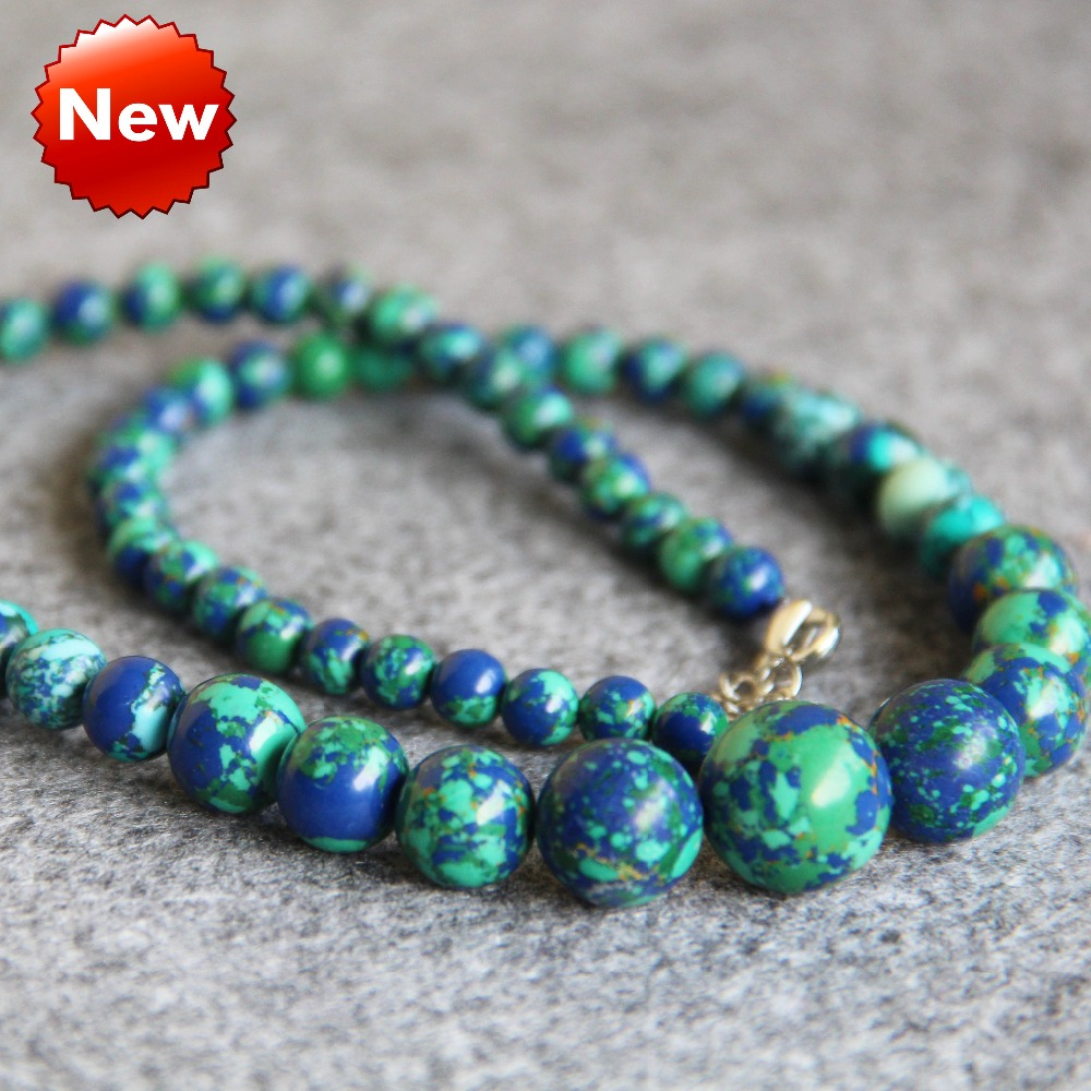 New Necklace 6-14mm Turkey Turquoise Green Flowers Beads Jasper Howlite Necklace Women Girls Gifts 15inch Jewelry Making Design(China (Mainland))
