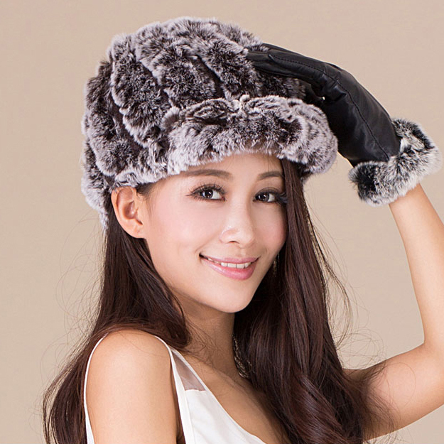 2015 Autumn Winter Women Knitted Rabbit Fur Cap For Famel Genuine Natural Rabbit Hair Hats Beret Fashion Warm Headwear Free ship(China (Mainland))