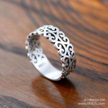 Черный 925 чистое серебро ювелирные изделия старый лоза узор влюблённые из женское кольцо 044058 Вт(China (Mainland))