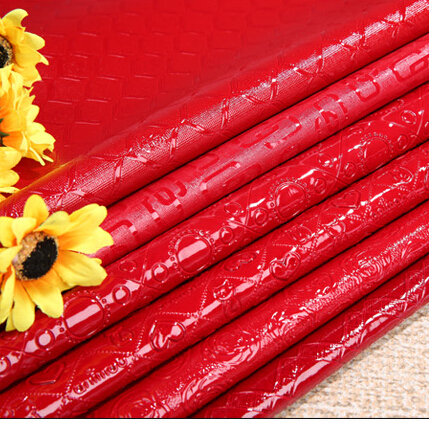 Red Faux PVC Leather Fabrics Synthetic Leather for Rupholstered PVC Artificial Leather Cloth sewing material Hide Wholesale(China (Mainland))