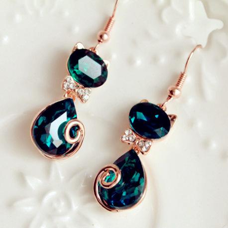 Luxury Rhinestone Kitten Earrings