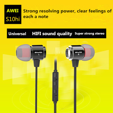 2016 new Awei-S10higeneral type 3.5 mm headset support apple mobile phone Samsung HTC, Hua wei all kinds of mobile phones(China (Mainland))
