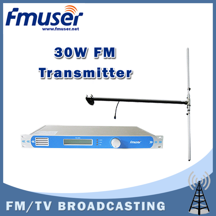 Free shipping FMUSER FU-30C New 30w FM Transmitter 0-30w adjustable for FM Radio Station+1/2 Wave Dipole Antenna Kit(China (Mainland))