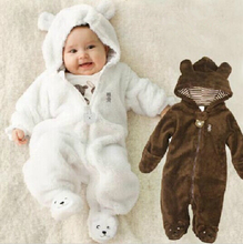 Retail newborn coral velvet hooded pole jumpsuit, autumn and winter newborn baby boy clothes toddler monkey(China (Mainland))