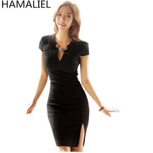 Buy Business Summer Women Office OL Dress 2017 Sheath Black Short Sleeve Female Sexy V Neck Formal Split Bodycon Pencil Work Dress for $23.42 in AliExpress store