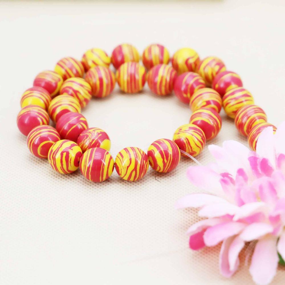 14mm Fashion Red&Yellow stripe Turquoise loose DIY beads Jasper Jewelry crafts making design 15inch Girls Gifts stones Bracelets(China (Mainland))