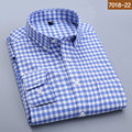 2016 Autumn men s shirts 100 cotton mens dress shirts Plaid striped full sleeve England slim