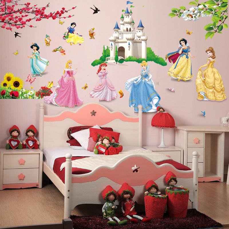 Removable diy seven princess birds flower castle wall - Decoration chambre princesse ...