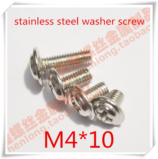 100PCS/LOT M4*10 Stainless Steel  Pan Head Cross Recessed Machine Screw With  Washer<br><br>Aliexpress