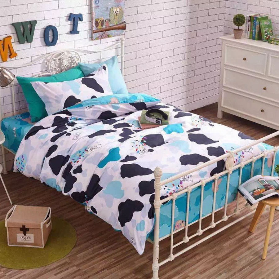 2017 new fashion 100% cotton Juvenile boy and girl bedding set duvet cover set lovely cartoon pattern kids bedding twin size(China (Mainland))
