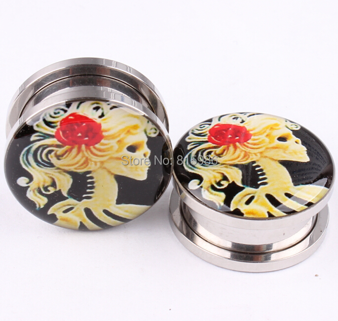 Ear Plugs Tunnels Stainless Steel Vintage Skull Girl Fake Cheater Stretching Expander Body Jewelry Piercing - JK Factory store