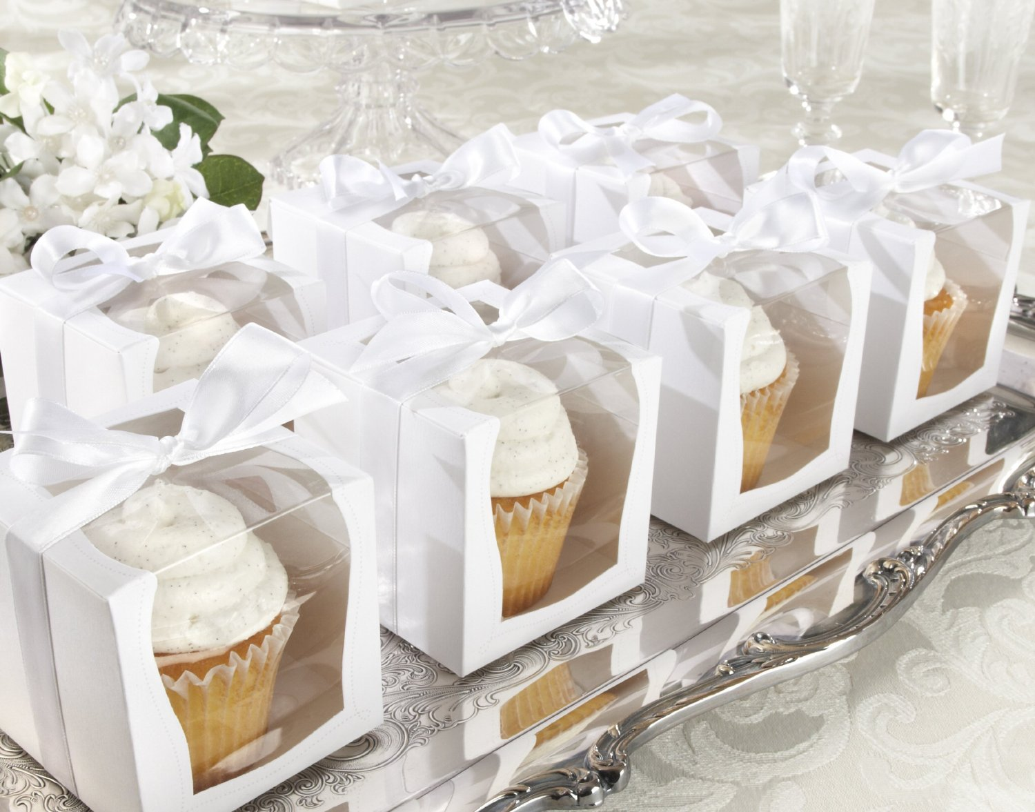 24pcs 9 9 9cm wedding cake box white satin ribbon