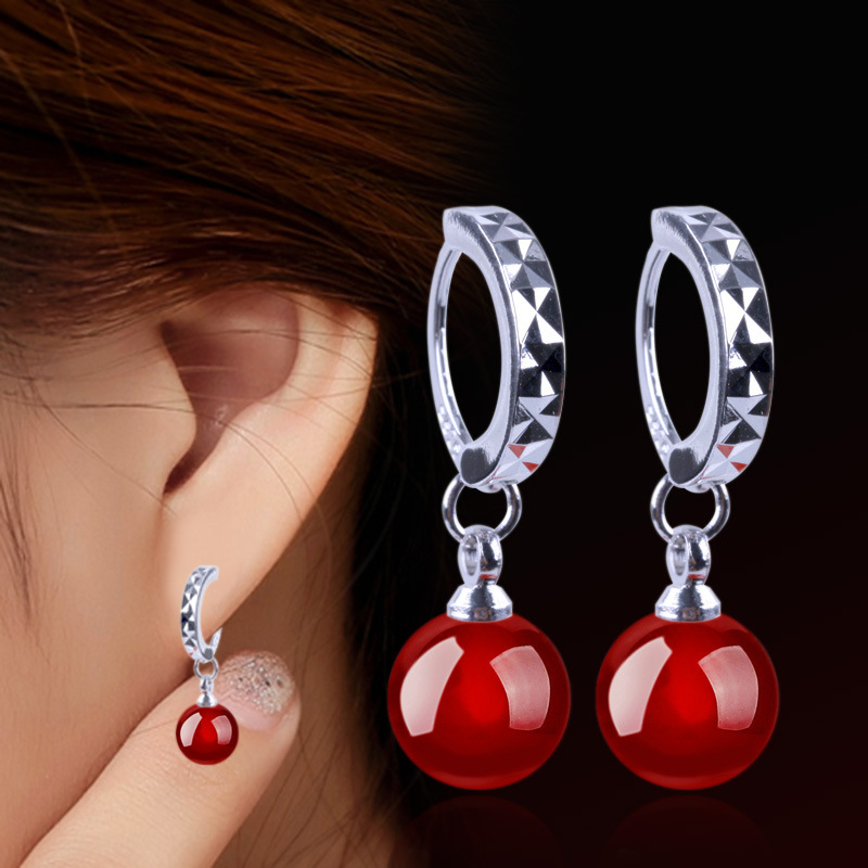 Silver plated earrings black and red agate jewelry female models cute retro fashion jewelry Brand manufacturers, wholesale 8MM(China (Mainland))