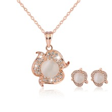 conjuntos joyas de plat Crystals Weeding jewelry sets 18K Rose Gold Plated Rhinestone Necklace Earrings Jewelry Set For Women(China (Mainland))
