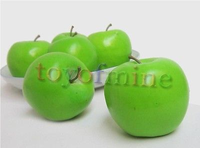 6 pc Home living room fruit plate plastic peel green apple fake artificial(China (Mainland))