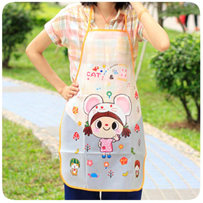 Cute Aprons waterproof PE apron Kawaii Cat Smile Face Lovely Girl Anti-oil Apron Cartoon Kitchen Aprons for women&girls(China (Mainland))