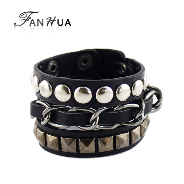 Hip Hop Rock Style Jewelry Black White Pu Leather Spikes Wrap Bracelets Bangles for Men and Women(China (Mainland))