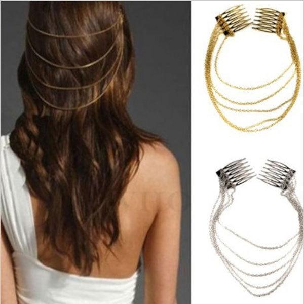 10Pcs/lot Punk Hair Cuff Pin Clip 2 Combs Tassels Chains Hair Clip Head Band Silver/Gold Hairband Women Hair Accessorie Hairwear(China (Mainland))