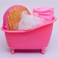 4 Items set Small Pet Bathtub storage box Bath luffah brush bath Sponge Towel bathroom accessories