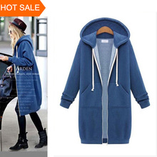 Women Long Hoodie Hooded Autumn Winter Loose Woman Hoodies Sweatershirt Plus Size Sport Outerwear Suit Casual Long Coat Jacket(China (Mainland))