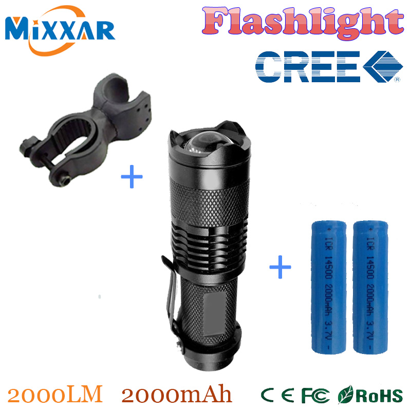 ZK50 cree q5 mini led flashlight 2000LM zoomable high quality bicycle front flashlight+2*14500 2000mAh Battery + bike holder(China (Mainland))