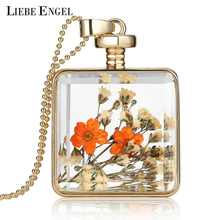 Buy LIEBE ENGEL Dried Flowers Collares Glass Square Pendant Necklace Long Gold Color Chain Statement Necklace Summer Vintage Jewelry for $2.20 in AliExpress store