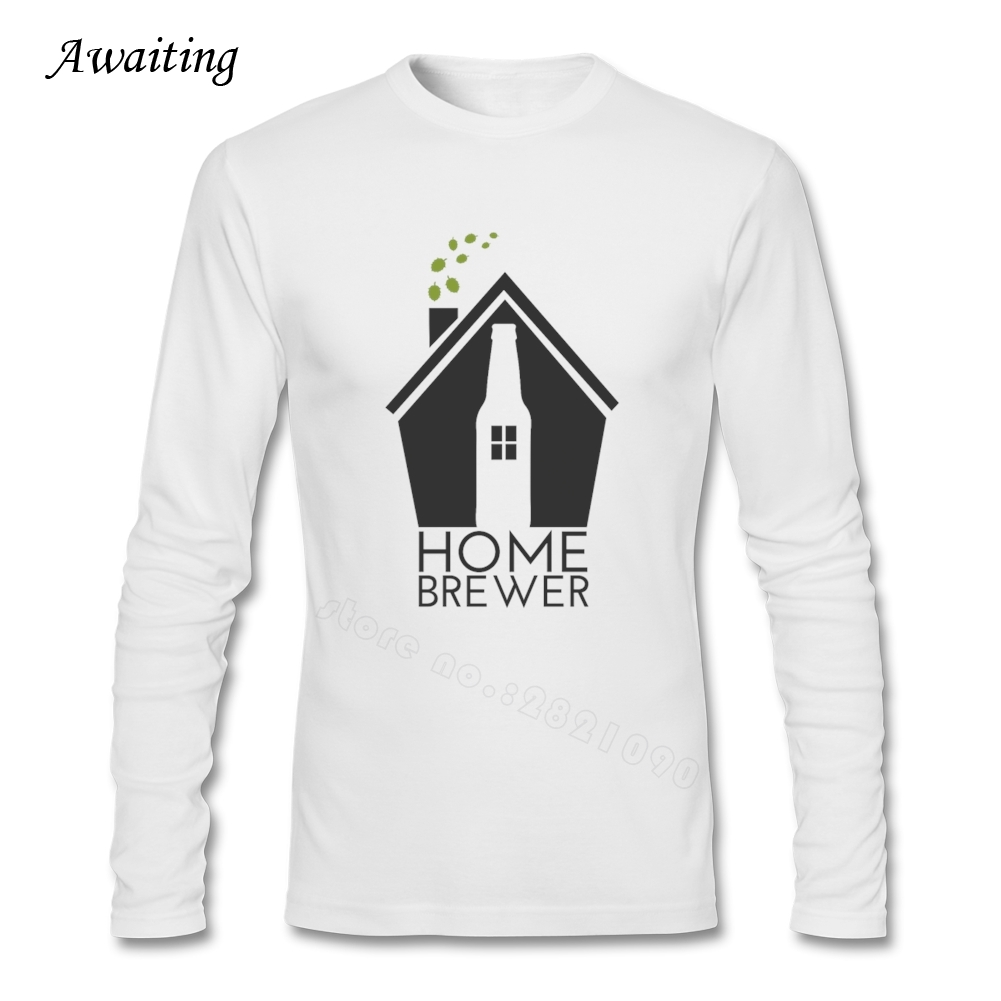Cotton Home Brewer CRAFT BEER Men's T-Shirt XS-3XL Pure Color Top Clothing For Man O-Neck Fitness Long Sleeve Teenager Tee(China (Mainland))