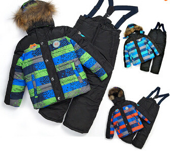 Winter thickened 3pcs boys ski suits spell color striped boys jackets + overall trousers + vest cotton warm skiing hot boys sets<br><br>Aliexpress