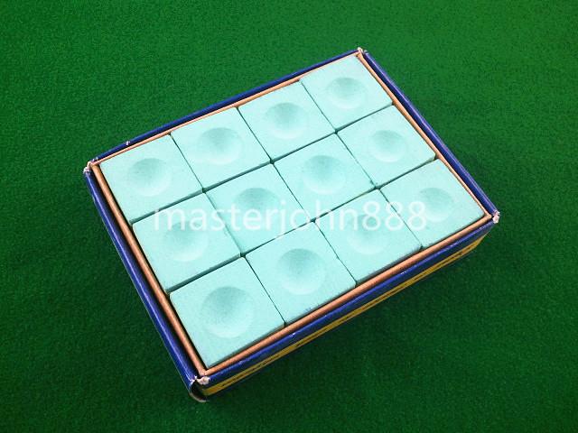 Pool Billiards Snooker Box Of 12pcs Cubes Chalk Gr...