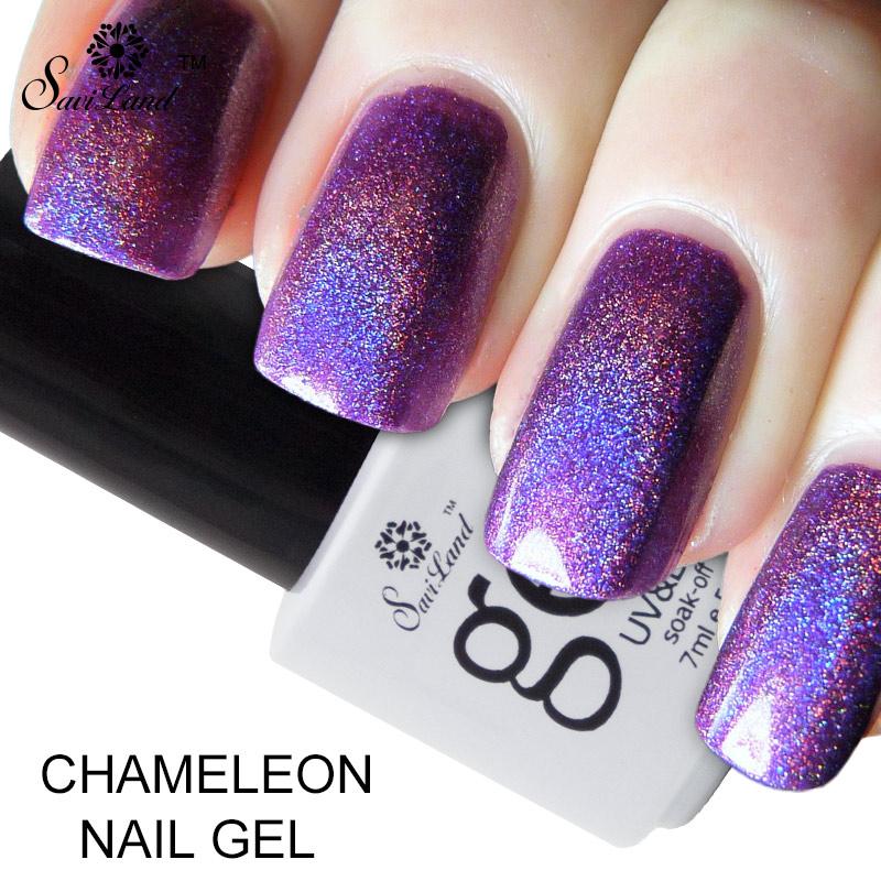 Saviland 1pcs Phantom Chameleon Gel Nail Polishes UV/LED 3D Glitter Colors Esmalte Primer Long Lasting Varnishes(China (Mainland))