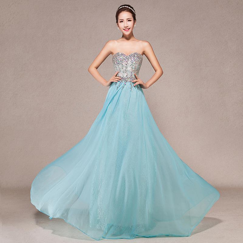 Formal Dresses Long Evening Dress 2015 Party Elegant Sweetheart A-Line Crystal Chiffon Gown - Niu-niu Store store
