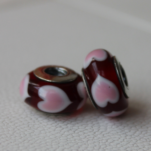 Loving Hearts Murano Glass Bead with Solid 925 Silver Core Fit Pandora Bracelet Thread(China (Mainland))