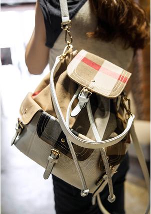 2014 phụ nữ mới đến thời trang kẻ sọc đi ba lô trang trí với thắt lưng da màu trắng ba lô màu be miễn phí vận chuyển(China (Mainland))