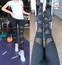 New Quality Yoga Sports Pants 2016 Women Sexy Sports Fitness Trousers Gym Exercise Yoga Breathable Mesh Stretch Pants Women K220