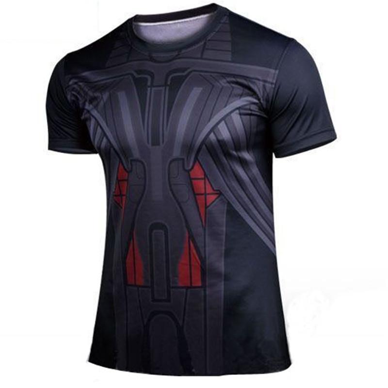 2017 2017 Brand tights male hero alliance sporting T-shirts steel superhero spider-man movement quick drying tight short sl