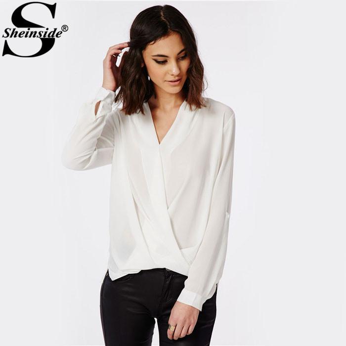 Sheinside Spring Korean Style Modest Formal Women Hollow Out Plain White V Neck Long Sleeve Front Cross Dip Hem Blouse(China (Mainland))