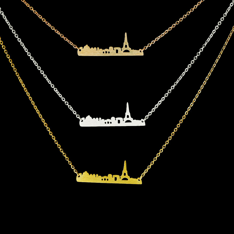 10pcs/lot 2016 Stainless Steel Fine Jewelry Gold/Silver/Rose Gold Chain Vintage Paris City Map Charm Pendant Necklace N0088(China (Mainland))